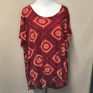LUCKY BRAND 3x Red Geometric Boho Short Sleeve